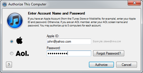 Authorize your computer in iTunes