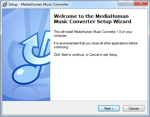Intstallation of MediaHuman Music Converter