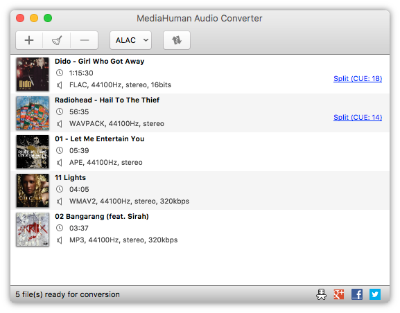 MediaHuman Audio Converter MAC full screenshot