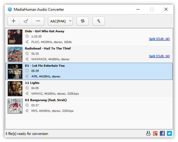 Click to view MediaHuman Audio Converter 1.5 screenshot