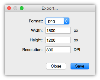 Export dialog of Collagerator
