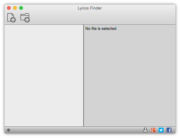 Main window of Lyrics Finder application