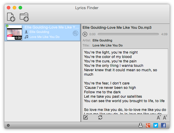 Instantly find missing lyrics for any music you have