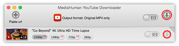 Start downloading 4K video