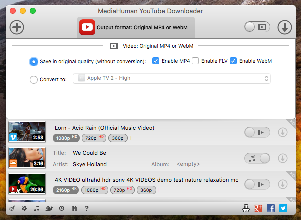 MediaHuman YouTube Downloader - feature-rich app to download online
