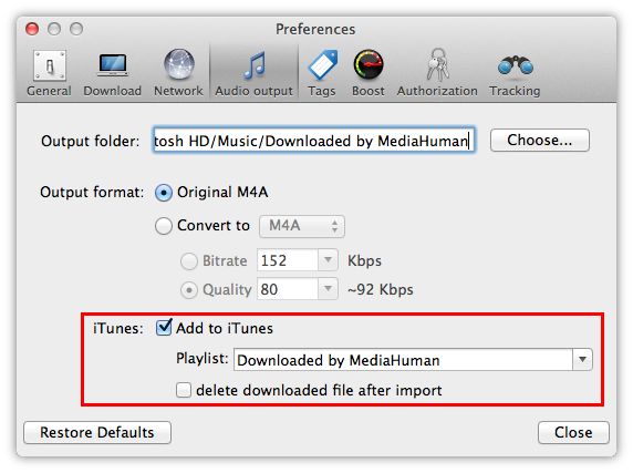 Convert YouTube music to iTunes - MediaHuman